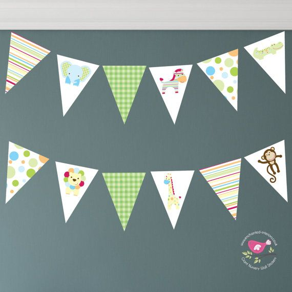 Jungle Wall Decal Nursery Bunting Safari by EnchantedInteriorsUK