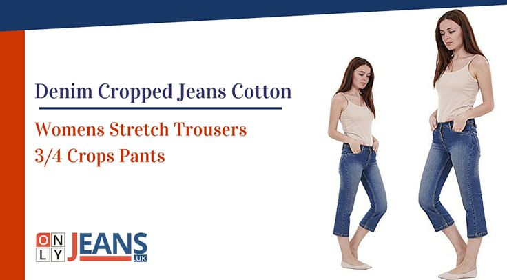 Ladies #Denim Cropped #Jeans Cotton Womens Stretch Trousers 3/4 Crops Pants #Fashion #OnlineShopping #Trendy #Trousers