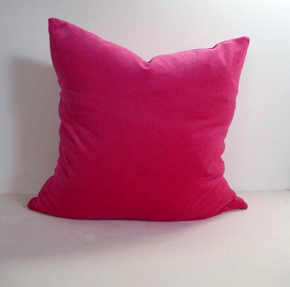 cerise pink velvet pillow case // hot pink velvet by LiveLoveSmile