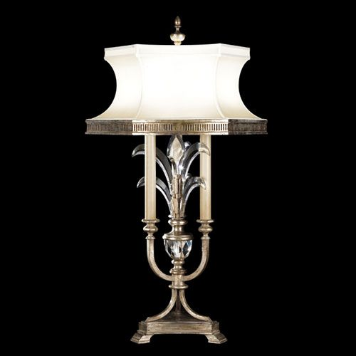 Beveled Arcs Three Light Table Lamp In Warm Muted Silver Leaf Finish
