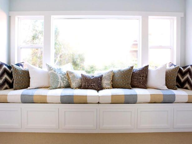 valencich striped window seat for on top of our custom made wood radiator cover beneath dining room windows!!