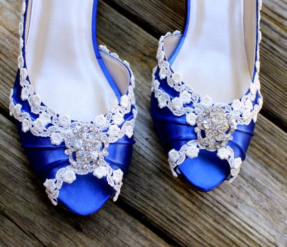 Blue wedding shoes low heel lace wedding shoes the ariel