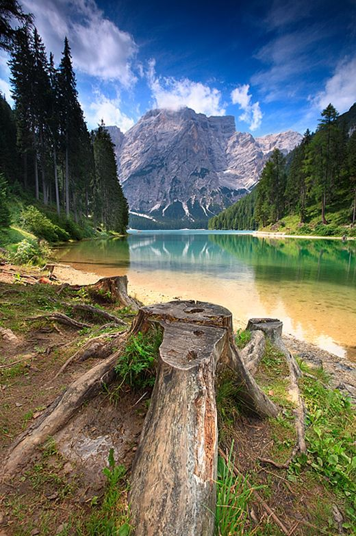 Wilderness camping in Italy, Lake Braies, Dolomiti, Beautiful!  Wilderness Campsites and Backpacking.