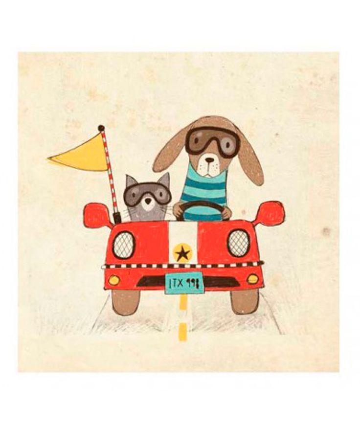 Ilustración Perro y Gato - Cuadro Encuentras más accesorios para los amantes de las mascotas en www.giferent.com/perros-y-gatos