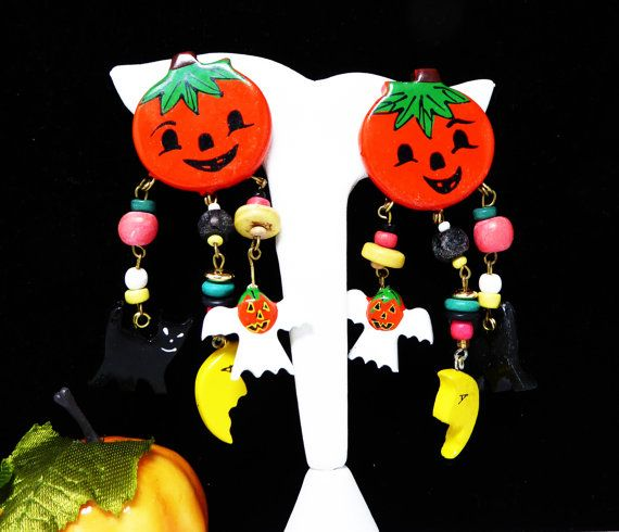 New Listings Daily - Follow Us for UpDates - Whimsical Pumpkin Earrings with Dangling Black Cat, Goblin & Cresent Moon - Clip on #Vintage Halloween  - 1980's 1990s Holiday Novely #Jewelry offered by TheJewelSeeker  Desc... #vintage #jewelry #teamlove #etsyretwt #ecochic #thejewelseeker