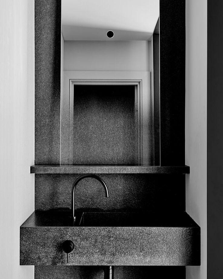 "Flack Studio | David Flack on Instagram: ""I always say you can never have enough stone in your house ✔️ Powder Room at #eastmelbourneresidencebyflackstudio #flackstudio #customstonebasin #glasitalia @brookeholm"""