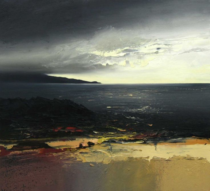Chris Bushe. August Shoreline, Scarista. oil on board