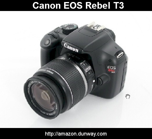 Canon EOS Rebel T3  12.2 MP CMOS Digital SLR with 18-55mm IS II Lens and  EOS HD Movie Mode (Black)  12.2 Megapixel CMOS (APS-C) sensor and  DIGIC 4 Image Processor for high image quality and speed. SALE PRICE: $382.24 US