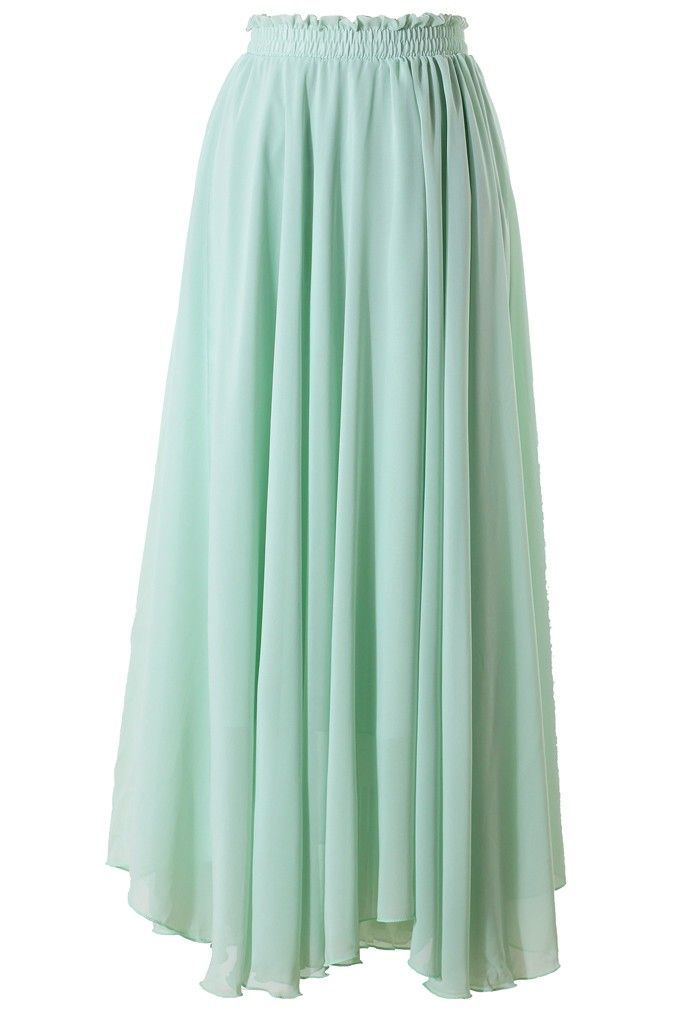 Light Green Long Maxi Skirt $44.90  http://www.chicwish.com/light-green-long-maxi-skirt.html  #Chicwish