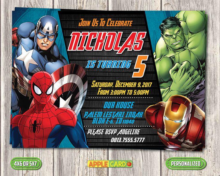 avengers birthday invitation avengers invitation card