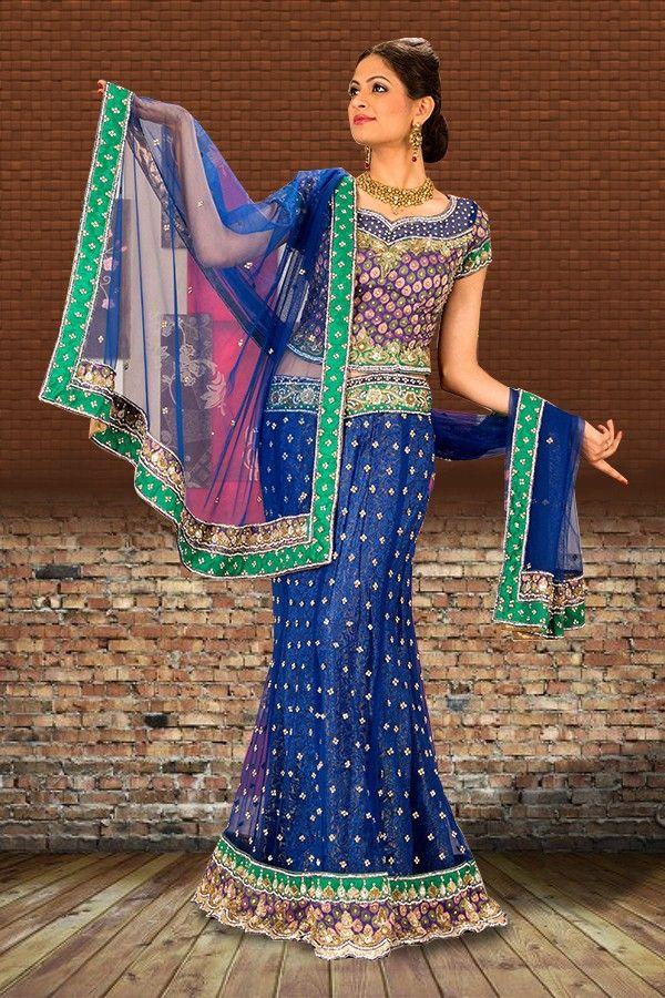 #Blue Designer #Lehenga Choli  Check out this page now :-http://www.ethnicwholesaler.com/lehengas/bridal-lehengas