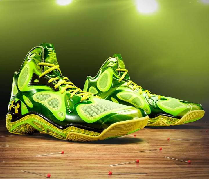"Some players have the green light. Only one has a fluorescent light. Stephen Curry will wear these ""Voodoo"" Anatomix Spawn PEs for the 3-Point Contest this Saturday night. (via Under Armour Basketball - Facebook)"