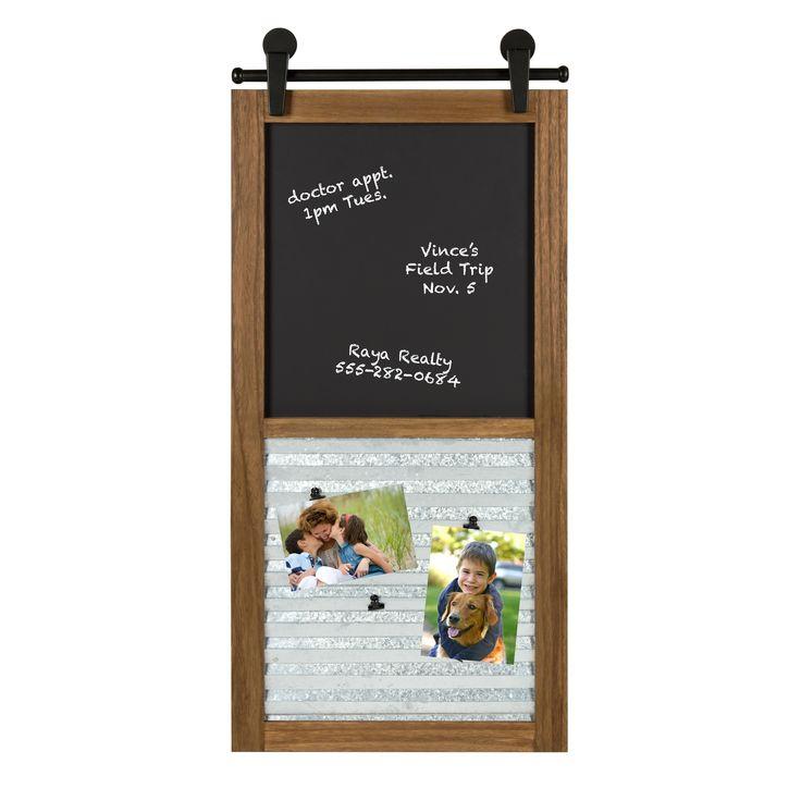 Kate and Laurel Sugarbrook Framed Chalkboard Wall Organizer, Rustic 17x34.5 - N/A