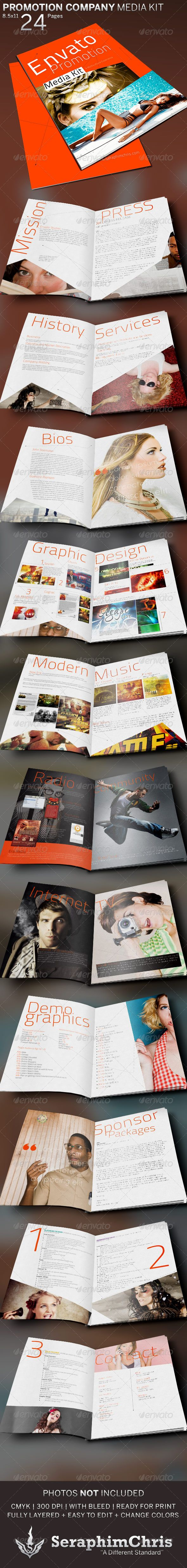 Promotion Company Media Kit Booklet Template  #24 pages #advertisement #biography • Available here → http://graphicriver.net/item/promotion-company-media-kit-booklet-template/5282137?s_rank=46&ref=pxcr