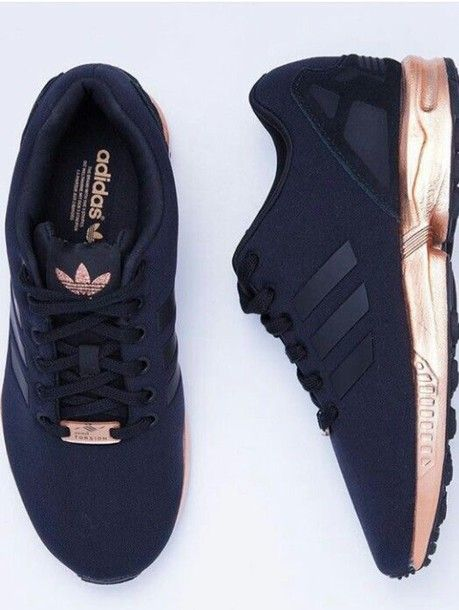Shoes: gold sneakers, low top sneakers, adidas, black, rose gold, adidas flux, adidas shoes, adidas originals, pretty, black and gold adidas, gold, adidas zx flux, sneakers, black sneakers, dress, light brown kimono, floral dress - Wheretoget