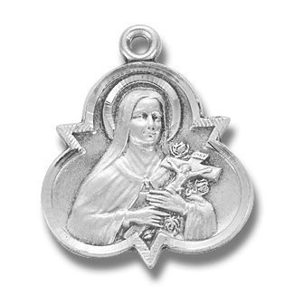 """Sterling Silver Trinity St. Theresa with 18"""" Stainless Steel Chain in Gift Box, the Little flower, Patron Saint of (Patronage) African missions, AIDS sufferers, air crews, aircraft pilots, Australia, aviators, Belgian air crews, black missions, bodily ills, Alaska, florists, flower growers, foreign missions, France, illness, loss of parents, missionaries, parish missions, restoration of religious freedom in Russia, Russia, sick people, sickness, Spanish air crews, tuberculosis HMHRegina,"""