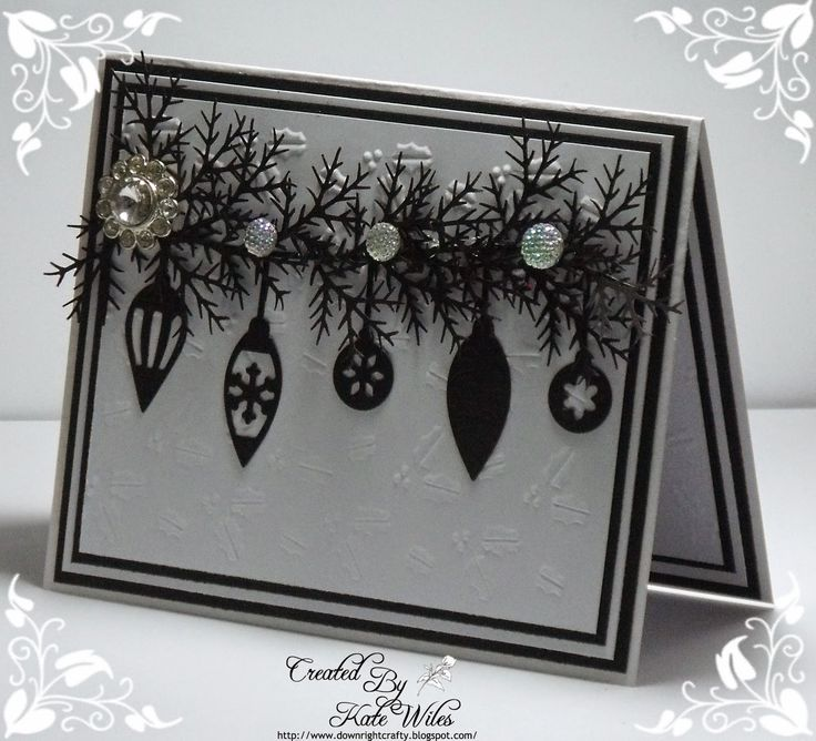 Card Making Christmas Ideas Part - 34: Handmade Christmas Card Using Wild Rose Studio Dies - Row Of Baubles  Downrightcrafty