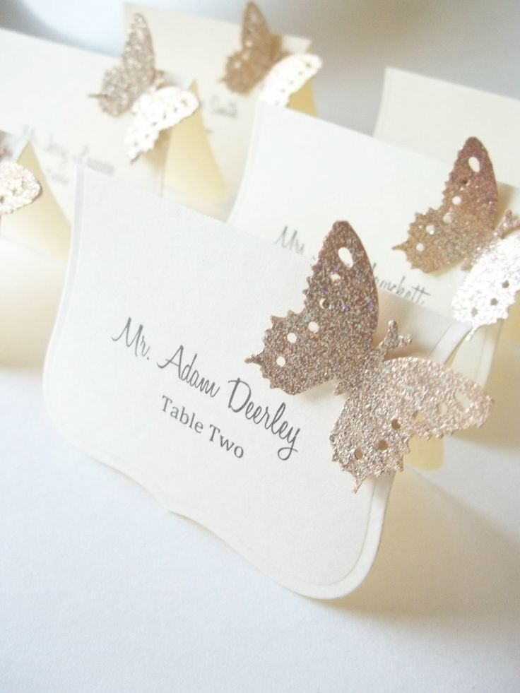 Wedding Luxe Escort Cards , Butterfly Place Cards, Wedding Seat Cards - Champagne and Ivory. $0.95, via Etsy.