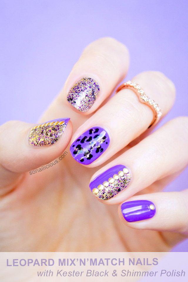 so nailicious   leopard print purple glitter nails