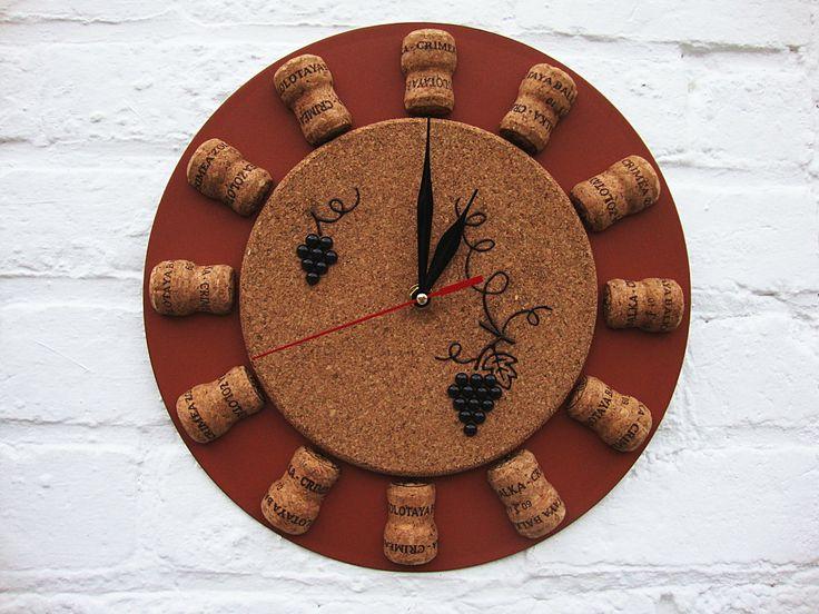 Wall clock Crimean Wine, unique gift, decorative wall clocks, brown wall clock, cork wall clocks, unique wall clocks, modern wall clocks