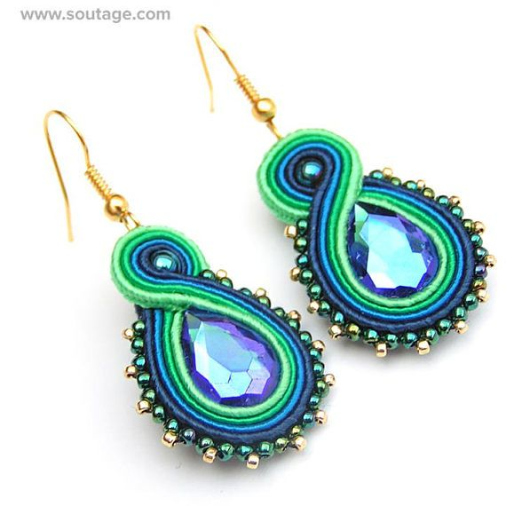 Blue-Green Trifle - this small, elegant earrings with Swarovski crystals are best choice for work day or for evening party. This jewelry piece can be also wonderfull gift for special woman. Using materials: glass beads, soutache, viscose, Swarovski crystals, hematite stones Length of