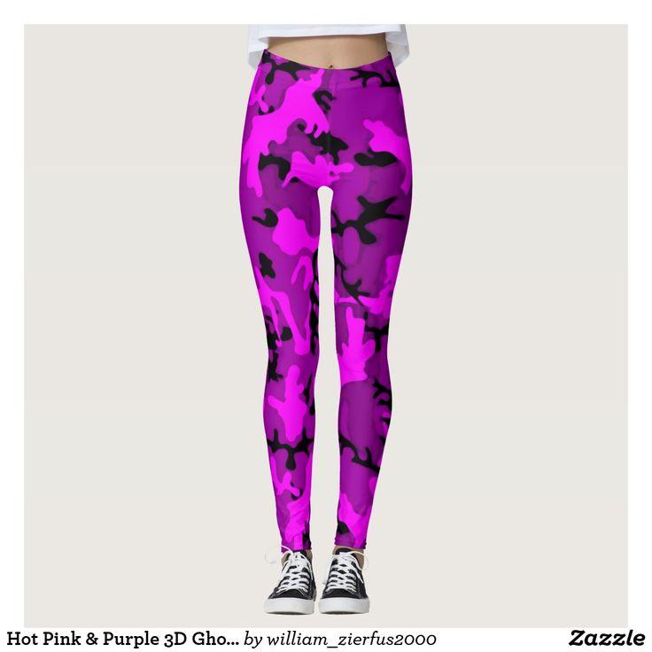 Hot Pink & Purple 3D Ghost Camo Leggings