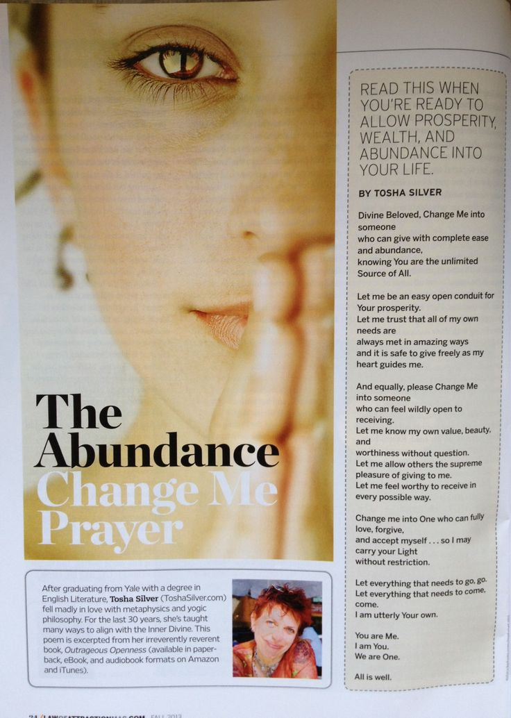 Abundance Prayer Law of attraction Law of attraction magazine // I highly recommend everyone who has some sort of relationship with money and work read this mag! Love it so! Finally a magazine dedicated to spirituality & money.