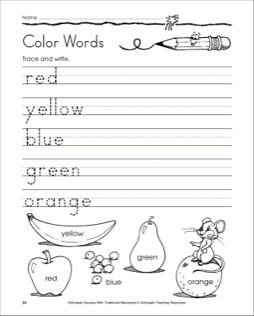 Traditional Manuscript Trace and Write Color Words