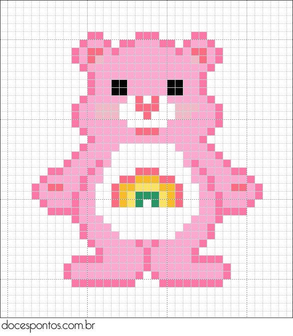 Free Care Bear Cross Stitch Chart or Hama Perler Bead Pattern