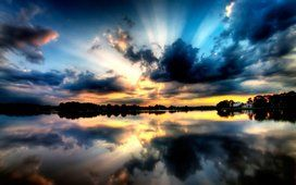 Sunset, sky, lake, forest