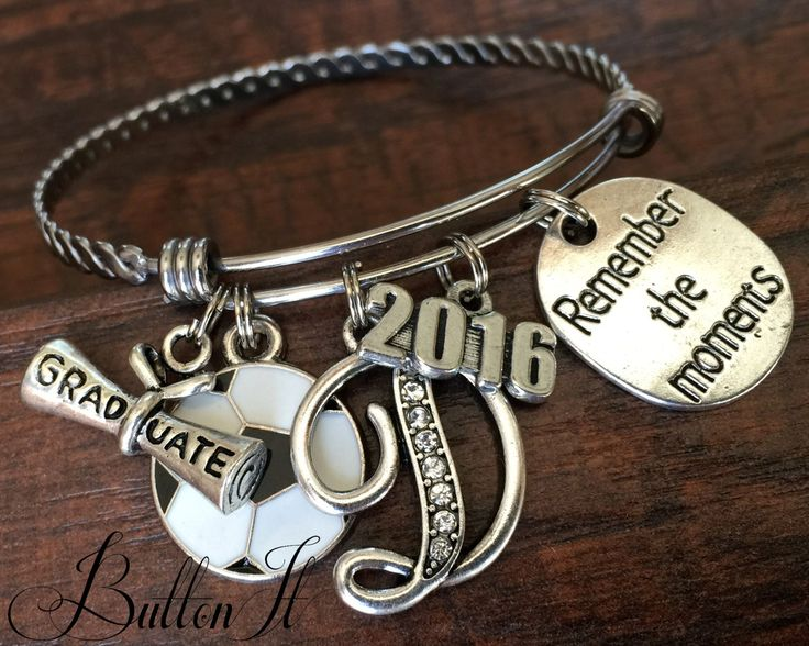 Sports BRACELET, Custom Sports Jewelry, School Spirit, Senior GIFT, Senior night, GRADUATE, football mom soccer, cheer, dance, Class of 2016 by buttonit on Etsy