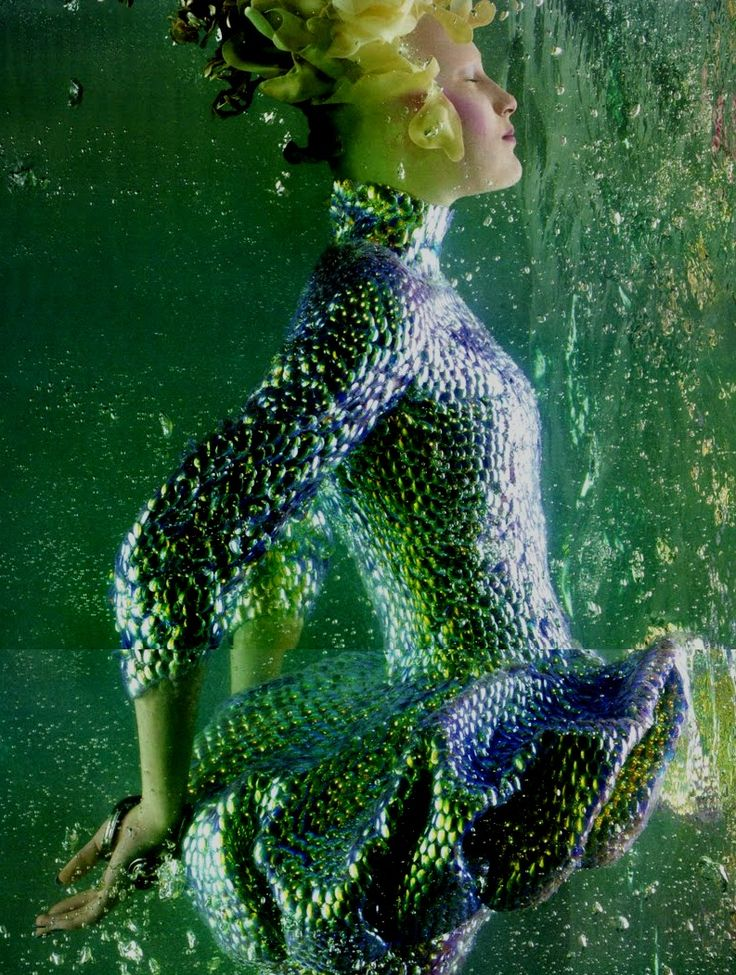 'The Girl from Atlantis': Alla Kostromichova by Sølve Sundsbø for Vogue Nippon, May 2010 in Alexander McQueen Spring Summer 2010
