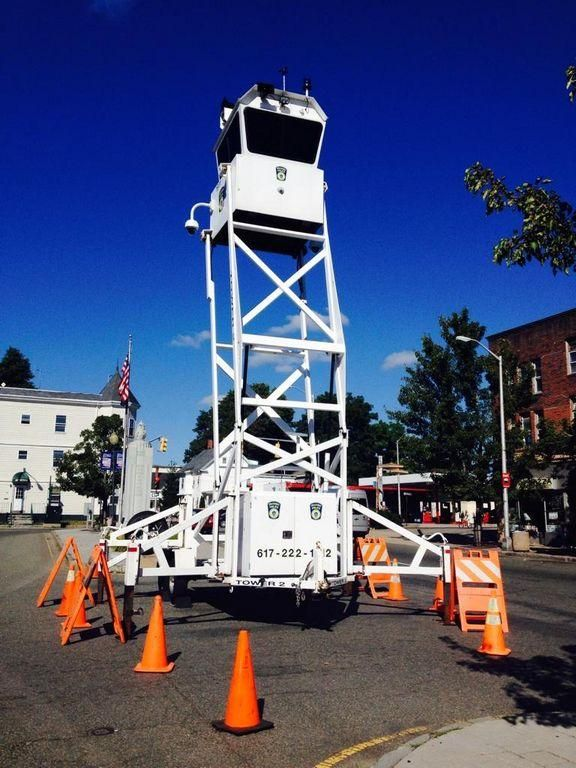 BROCKTON - The Brockton Police have placed a mobile observation tower at the top of Legion Parkway. The tower, which is on loan to the department from the