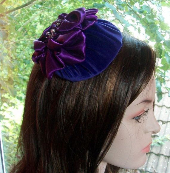 Purple Cocktail Hat Evening Purple Velvet put on a larger hat - HettieJane