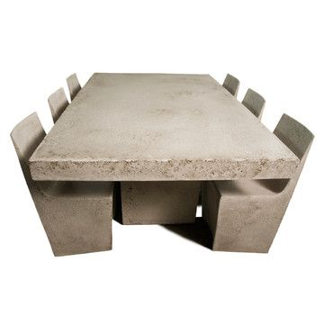 Slab Dining Table by Zachary A. Bitner - indoor/outdoor - fiberglass treated to look like stone