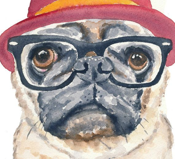 Barro amasado acuarela grabado  perro Hipster Hipster