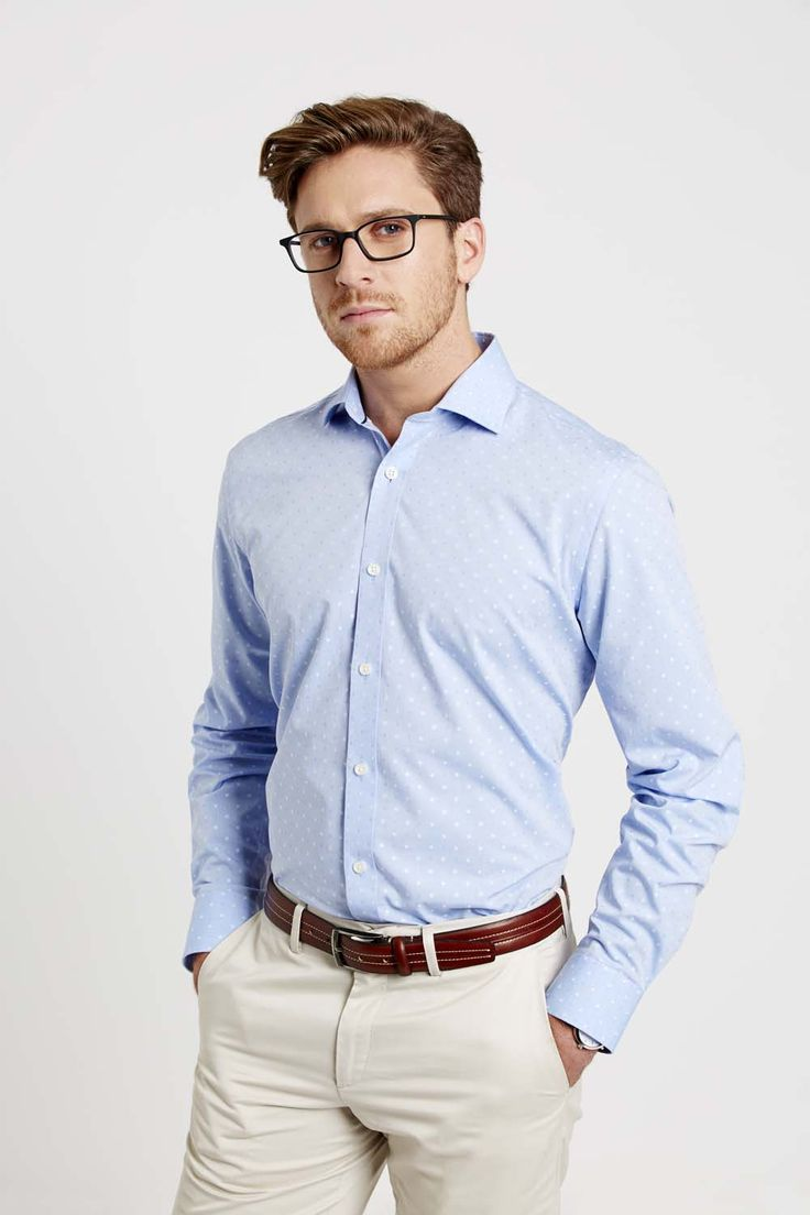 Our pick of the season is this powder blue tailored Friday's shirt. We have revived the archival polka dot print, placing a modern viewpoint on the classic pattern. Made from pure cotton and a casual washed fabric, this shirt is sure to keep you cool in the summer months.