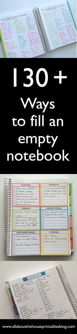 Ideas to fill an empty notebook
