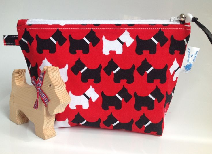 Black and White Scottie Dog Robert Kauffman Fabric Cosmetic Purse - Hand Made in Scotland by sewmoira on Etsy