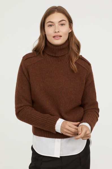 ecc193daa6 Wool-blend Turtleneck Sweater - Dark brown melange - Ladies