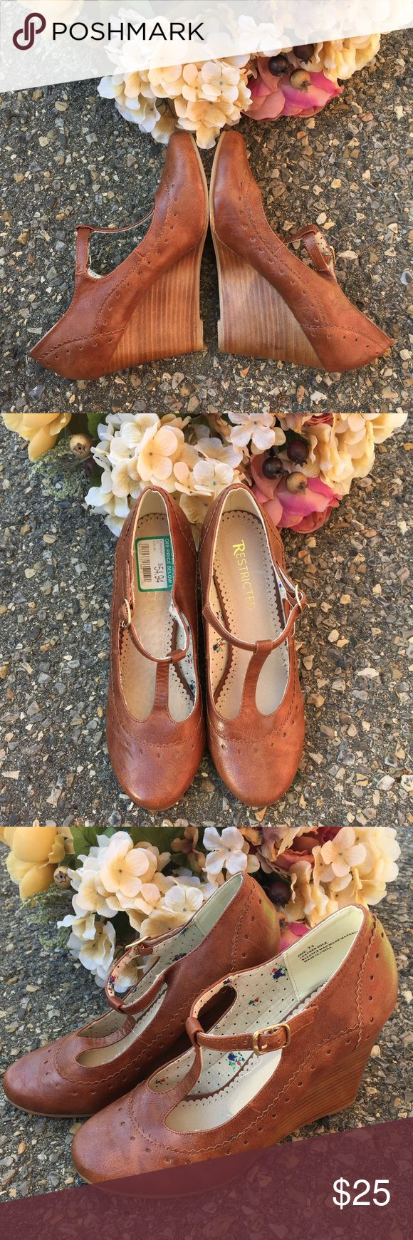 Restricted Brown Mary Jane T Strap Wedge Heel 💕💕In excellent condition. Be fashionable with this cute wedge heels to pair with your fave dress or skirt... Feel oh so girly! Sharing the love💕💕 Restricted Shoes Wedges