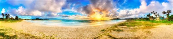 Panorama - Sunrise on Oahu, Hawaii (HI), USA