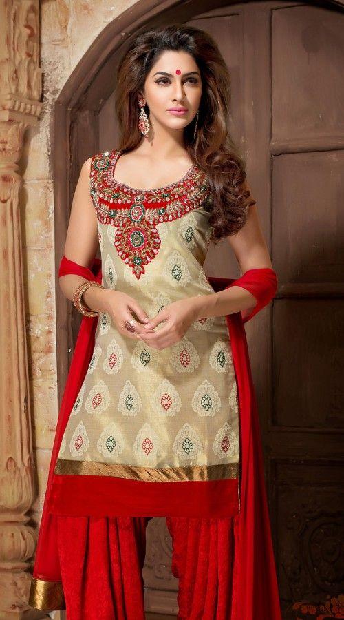 Beautiful Dusty Cream Banarasi Silk Readymade Patiala Suit WV82554