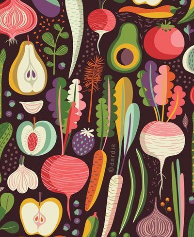 More inspiration for art time: 'orange' you lucky? Helen Dardik's illustration, summer roots . . .