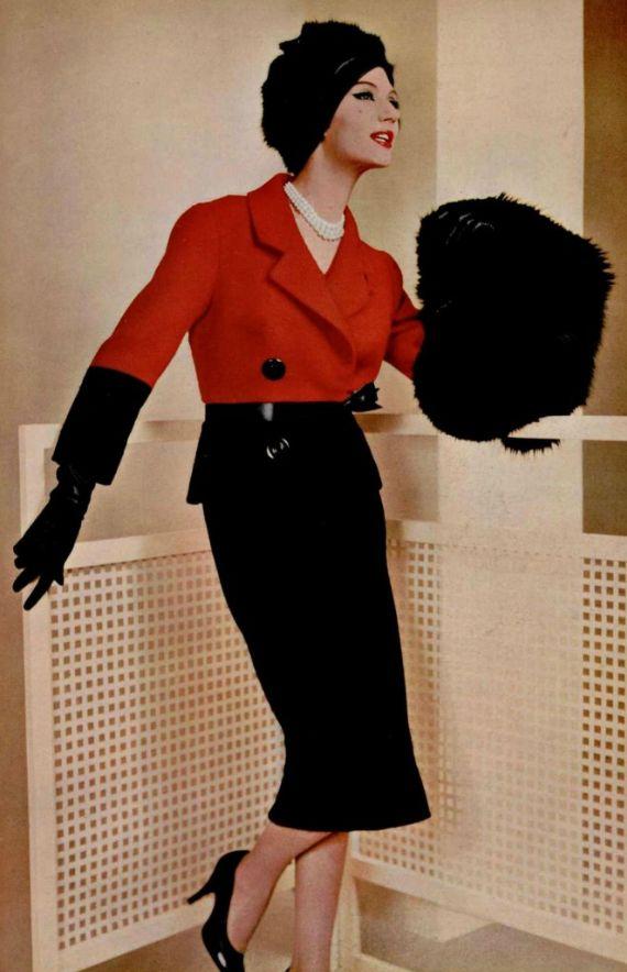 1958 Pierre Balmain #vintage #fashion #vintagefashion late 50s red black jacket pencil skirt shoes heels gloves hat muff suit outfit