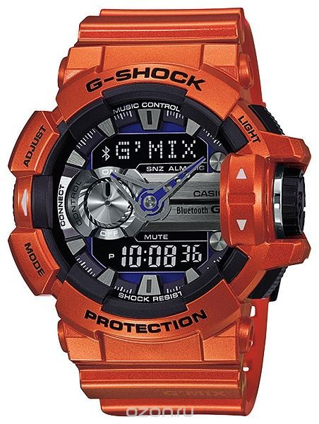 Часы мужские наручные Casio G-SHOCK, цвет: оранжевый, черный. GBA-400-4B