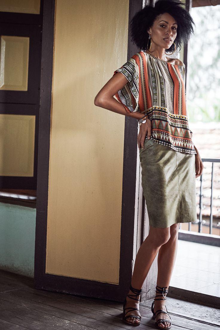 blousetop met etnische print