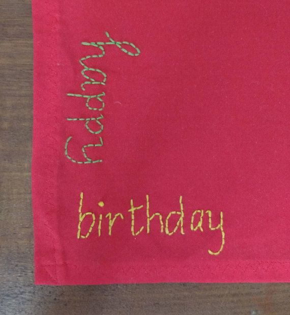 Happy Birthday  cotton hanky with embroidery  handmade in