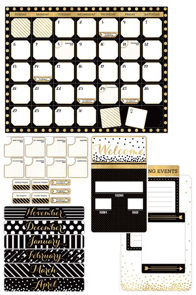 Glimmer of Gold Collection, Customizable Calendar Bulletin Board Set, 100 Pieces