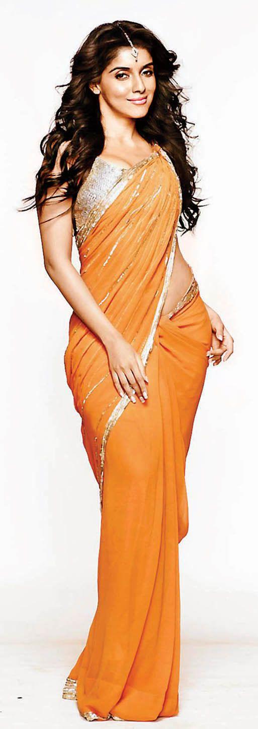 Asin - lovely orange sari great for spring/summer#COCABURA#BETHEBEST